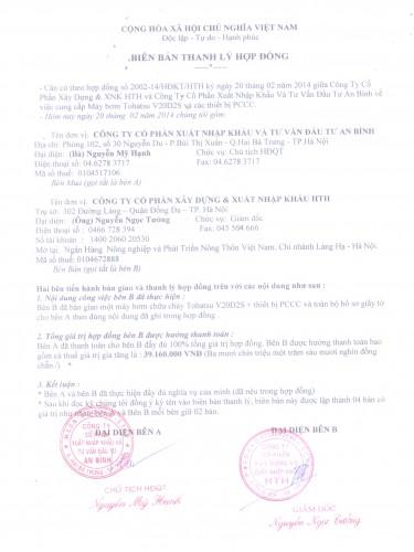 Biên bản thanh lý hợp đồng