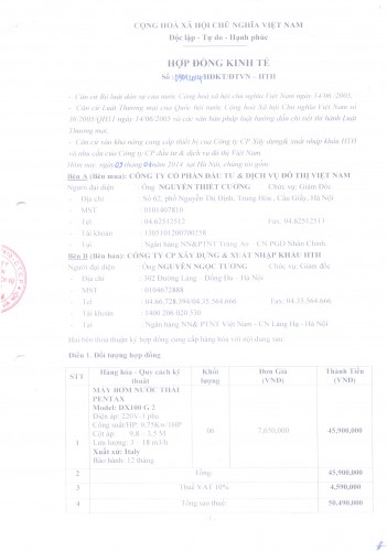 Hợp đồng ký kết với công ty dịch vụ đô thị Việt Nam