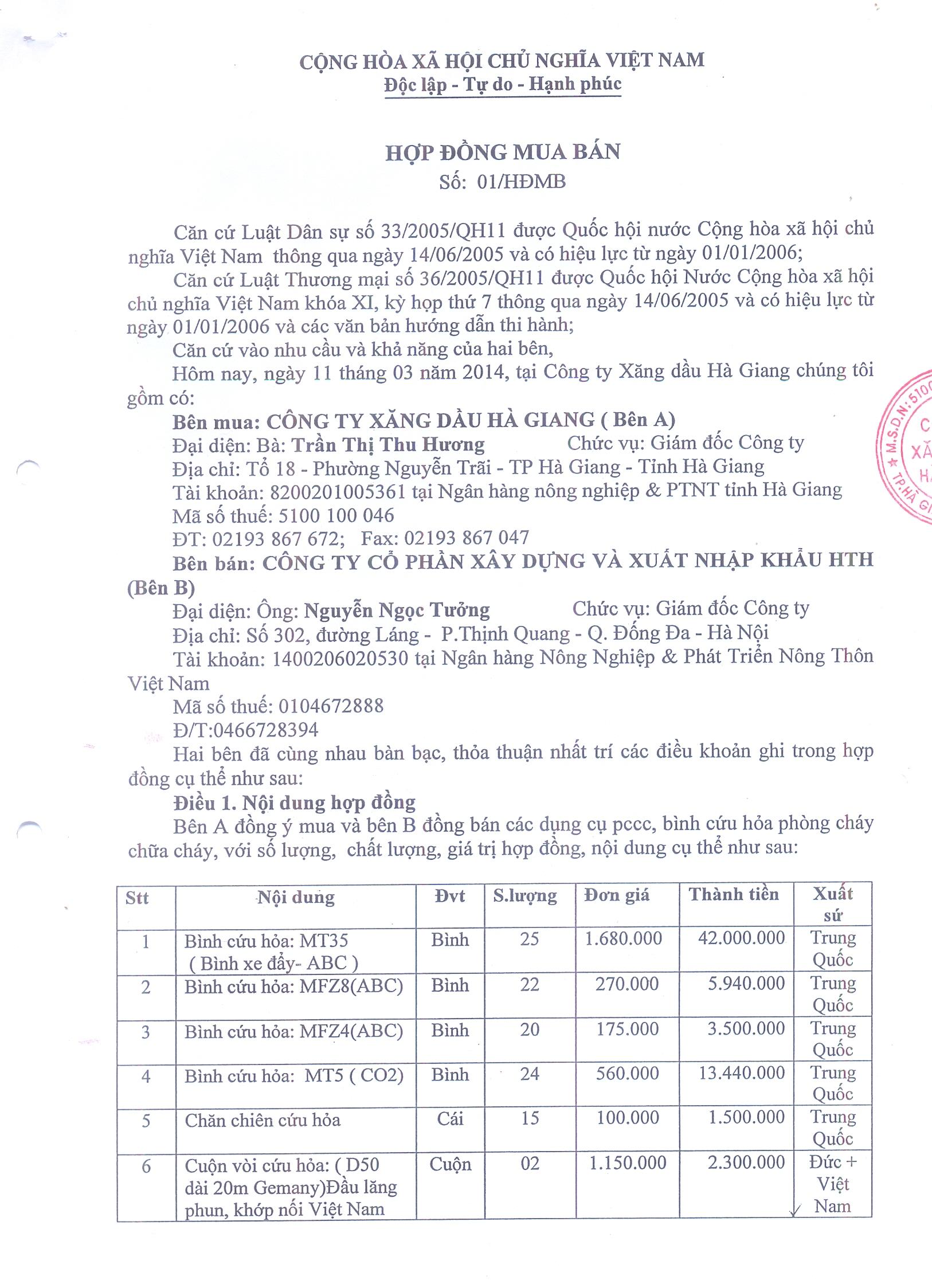 Hợp đồng đã ký kết với công ty xăng dầu Hà Giang