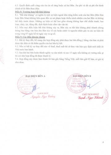 Hợp đồng đã được hai bên ký kết và đóng dấu đỏ