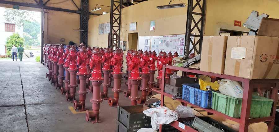 Trụ cứu hỏa Bộ Quốc Phòng 3 cửa tại nhà máy Z183